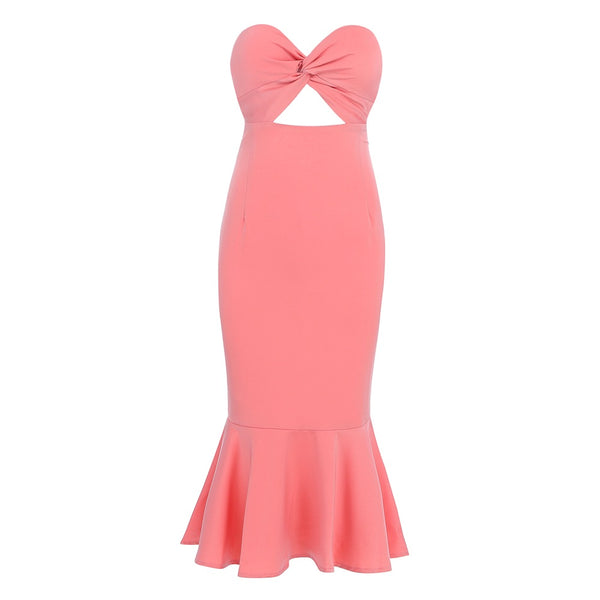 Aya Pink Strapless Midi Dress with Mermaid Design