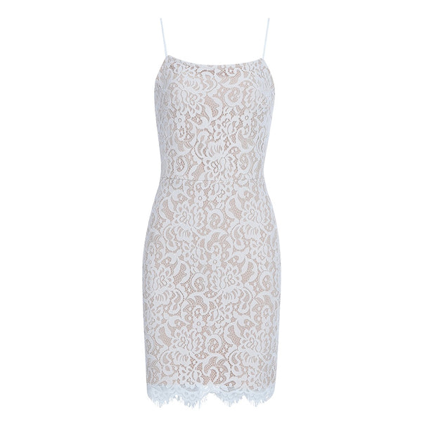 Zelda White Bandage with Lace Mini Dress