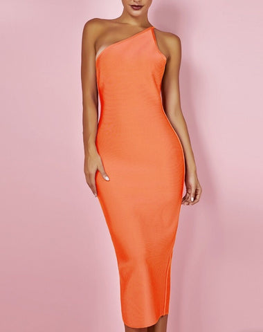 Alicja Orange One Strap Midi Bandage Dress
