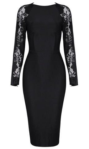 Antonella Black Lace Bandage Dress