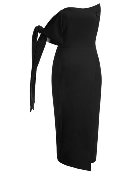 Sheneice Black Asymmetric Midi Dress