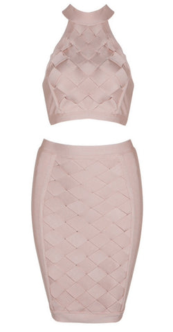 Isela Light Pink Two Piece Bandage Dress