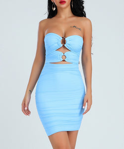 Kinslee Blue Strapless Mini Bandage Dress