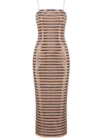 Charlotte Brown Embellished Strap Midi Dress