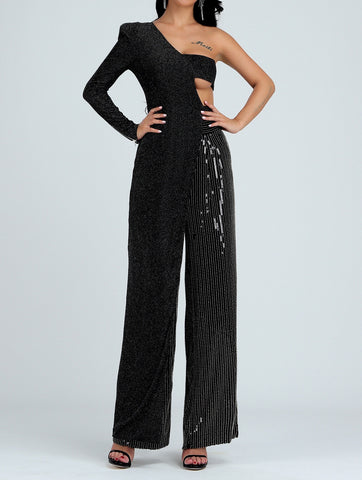 Kamryn One Sleeve Sequin Jumpsuit
