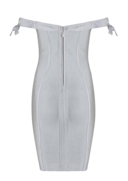 Luna Gray Off Shoulder Bandage Dress