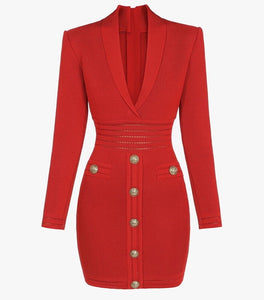 Lauren Red Mini Long Sleeve V Neck Dress