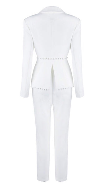 Ashlina White V-Neck Suit Set