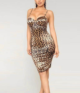 Mickalene Leopard Print Midi Dress