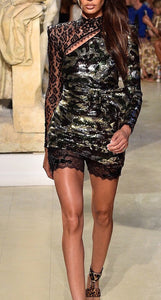 Jamila Long Sleeve Sequins Mini Dress