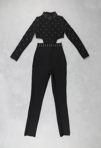Luna Black Studded Mesh Long Sleeve Jumpsuit