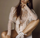 Joan Long Sleeve Lace Bodysuit - Beige