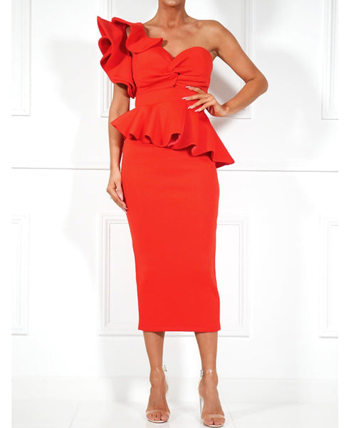 Athiya Red Ruffle Detail Midi Dress