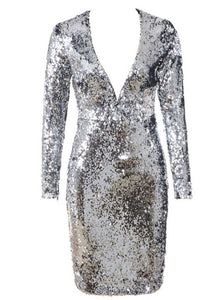 Amina Silver Long Sleeve Sparkly Dress