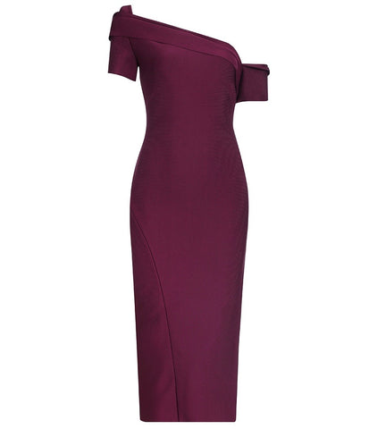 River Purple Off Shoulder Midi Bandage Dress