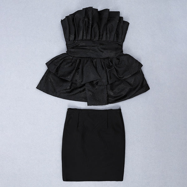 Madelyn Black Strapless Frill Two Piece Dress Set