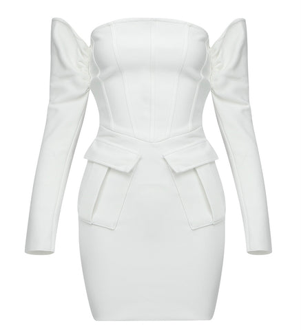 Clarissa Long Sleeve White Structured Mini Dress