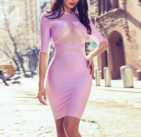 Natasha Lavender Mesh Bandage Dress