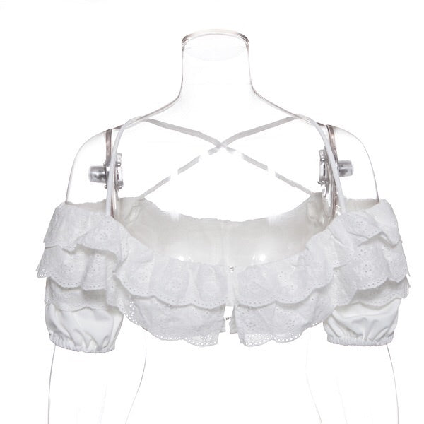 Mikaela Lace White Crop Top