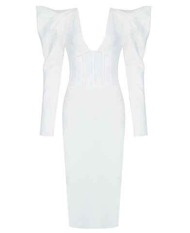 Imani White Long Puff Sleeve Structured Mesh Midi Dress
