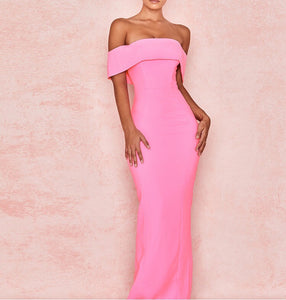 Eliska Pink Strapless Midi Dress