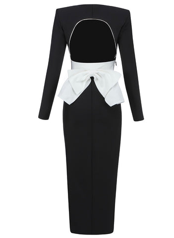 Ava Long Sleeve Black White Backless Midi Dress