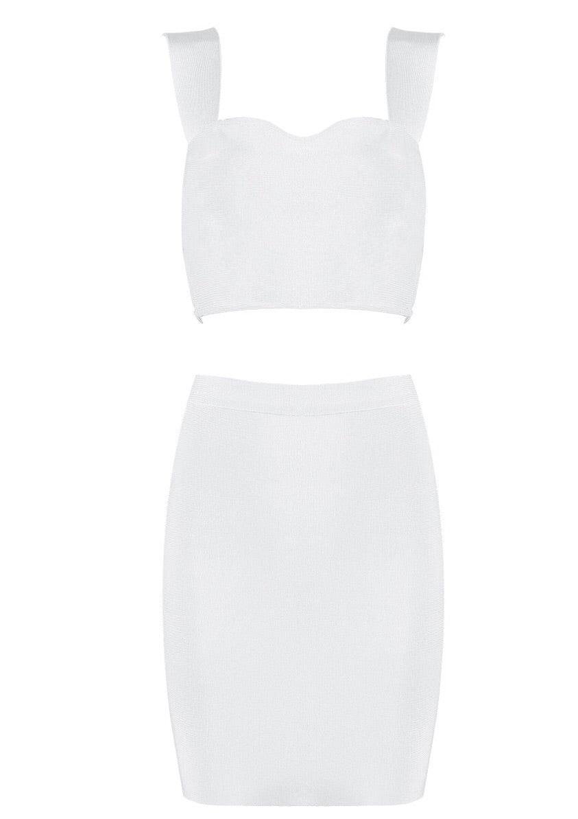 Eilish Mini White Two Piece Bandage Dress