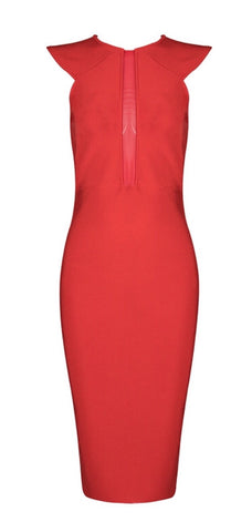 Julieta Red Lace Back Bandage Dress