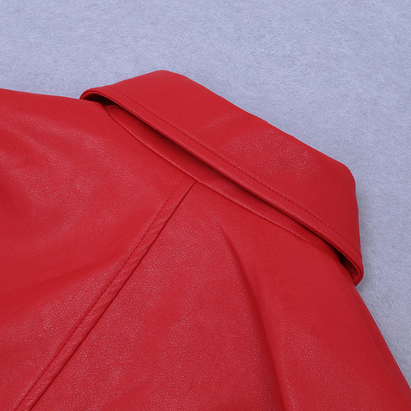 Yula Faux Leather Red Coat