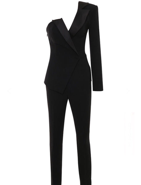 Hana One Sleeve Black Tux Jumpsuit
