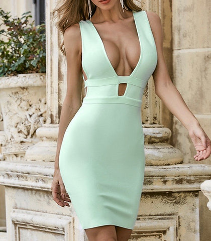 Ariah Light Green V Neck Sleeveless Bandage Dress