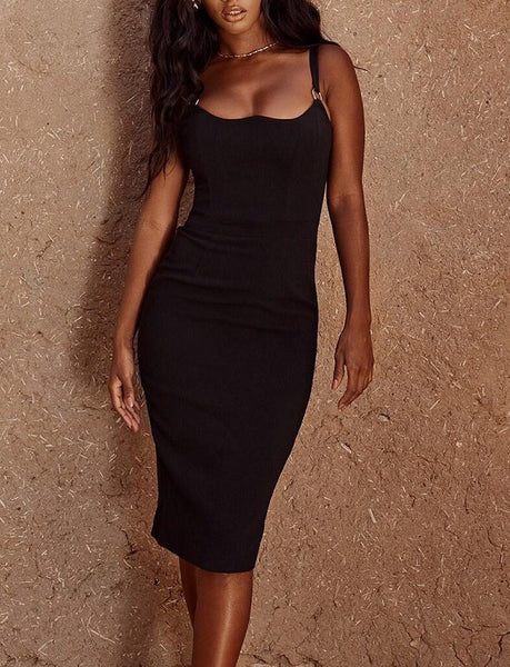 Calida Black Spaghetti Strap Bandage Dress