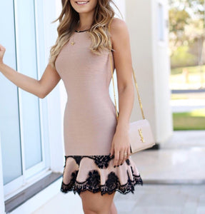 Kelsey Black and Beige Bandage Dress