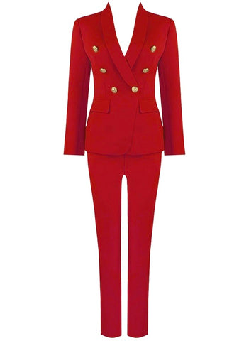 Amora Red Two Piece Suit Set