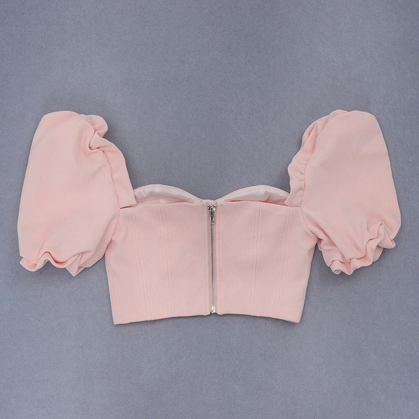 Sevi Pink Off Shoulder Crop Top