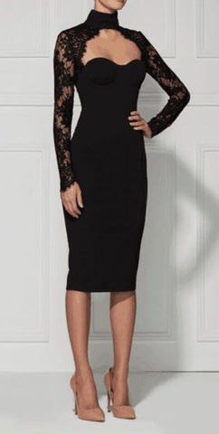 Chloe Black Lace Long Sleeve Dress