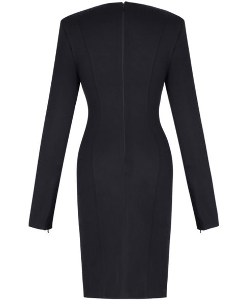 Madelena Long Sleeve Black Mini  Dress with Cut Out Design