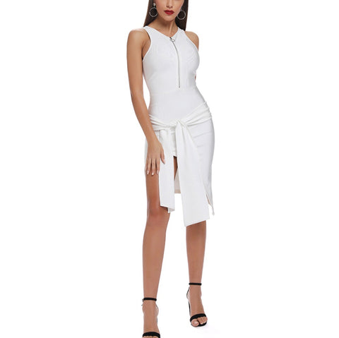 Lilly White Tie Detail Bandage Dress