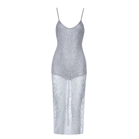 Jaylinn Silver Mesh Spaghetti Strap Dress