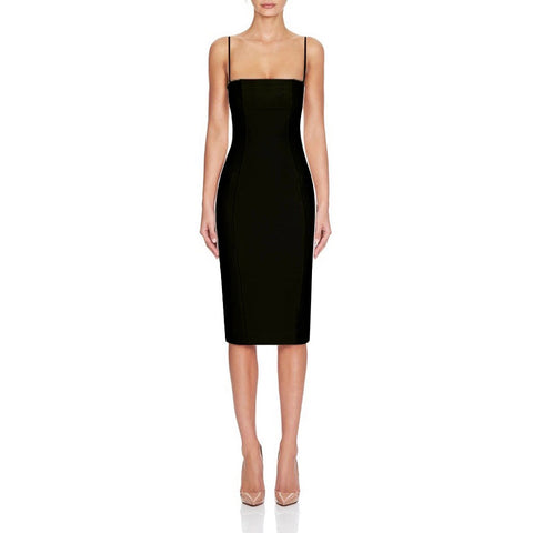 Harper Black Spaghetti Strap Bandage Dress