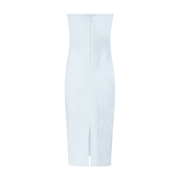 Rache White Strapless Midi Bandage Dress