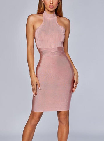 Alela High Neck Mini Backless Bandage Dress