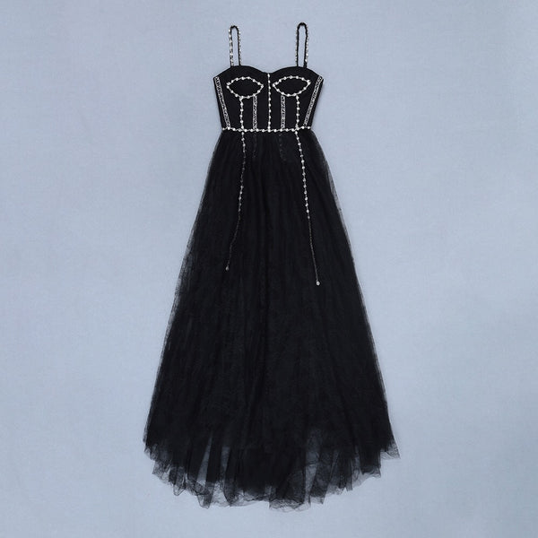 Naami Black Long Spaghetti Strap Cocktail Party Dress