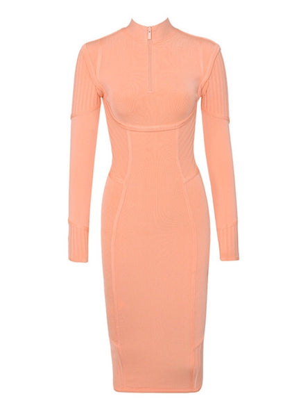 Adora Orange Long Sleeve Midi Bandage Dress