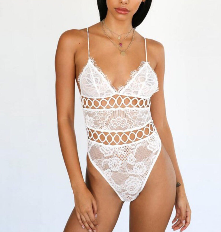 Felisa Sexy White Lace with Bandage Bodysuit