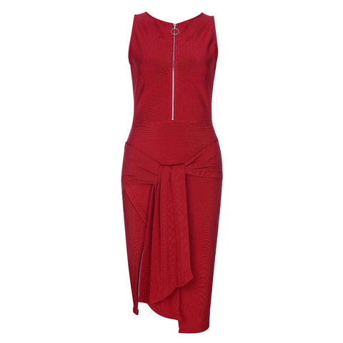 Lilly Red Tie Detail Bandage Dress