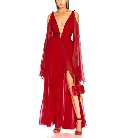 Jamila Red Mesh Maxi Cocktail Party Dress