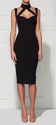 Isabelle Black Halter Neck Bandage Dress