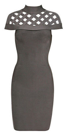 Jada Gray High Neck Bandage Dress