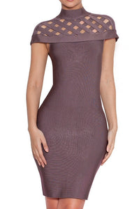 Jada Taupe High Neck Bandage Dress